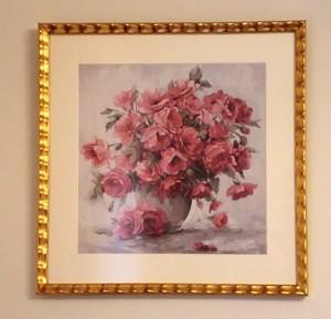 ピンクの花の絵の額装