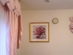 ピンクの花の絵の全体の風景