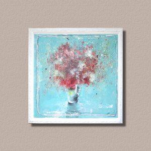 花の油絵をキャンバスに張り額装